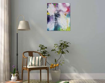 abstract modern art, original abstract painting, white, blue, acrylic, canvas, expressive, handmade, abstract wall decor, interior design