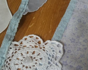 3m vintage handkerchief and doily bunting,  wedding bunting,  garden party bunting, vintage bunting