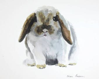 ORIGINAL watercolor painting, Bunny watercolor, Rabbit watercolor, Rabbit painting, Baby Nursery, Wall Art, Wall Decoration, Cute Rabbit