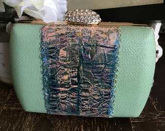 Carribean love clutch, handbag, purse, painting