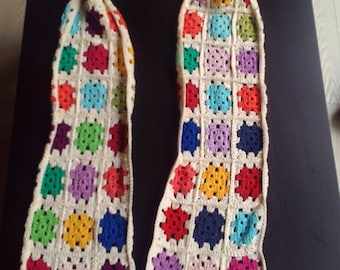 Crochet scarf in bright colors
