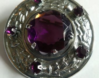 Vintage Scottish Thistle Design Brooch With Faux Amethyst Flowers And Centre Stone