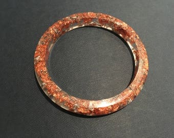 Resin Bangle With Copper Leaf & Silver Leaf Size Small