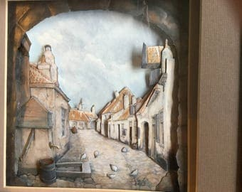 Paper tole shadow box 3D of an Old London Street Scape