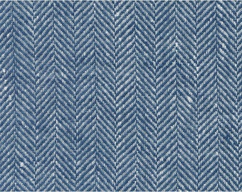 "Pure Linen Fabric by the yard - made in Europe - Medium Weight - Width 60"" (150 cm) - blue white"