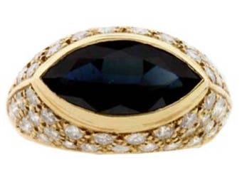Sapphire, Diamond & Gold Ring
