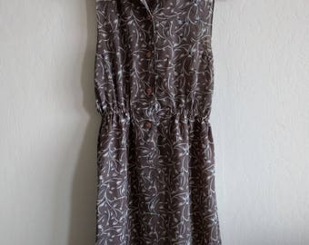 Vintage 80s gray floral print dress, Great Fabric