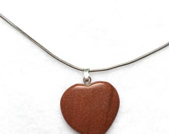 Goldstone Heart Pendant Necklace