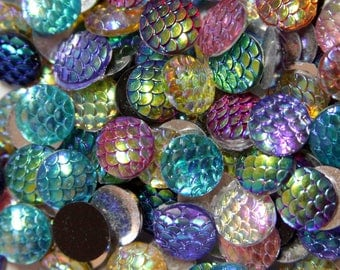 Dragon mermaid scales 12mm Cameo Cabs Resin Cabochon