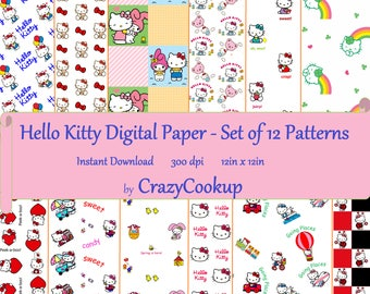 Hello Kitty Digital Paper - Set of 12 (Instant Download, 300 dpi, 12in x 12in)