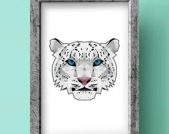 Snow Leopard Print - Geometric art - Original design - Animal print