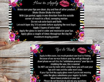 LipSense How to Apply and Tips and Tricks Cards Instant download
