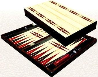 Backgammon set travel foldable family board game set, Trandy white design.