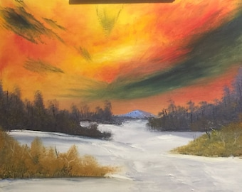 A Snowy Path oil painting on canvas 16x20
