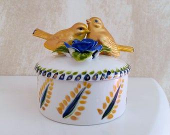 """Small box porcelain handpainted """"golden bird"""""""