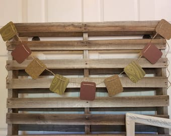 Woodsy green and brown cardstock banner