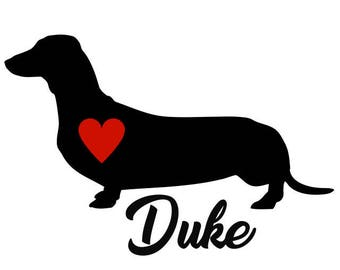 Dachshund Decal, Personalize With Your Dog's Name, Dachshund Sticker, Dachshund Vinyl Decal, Playful, Devoted, Stubborn, Lively, Courageous,