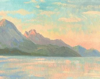 Landscape. Sea. Mountains. ORIGINAL OIL PAINTING