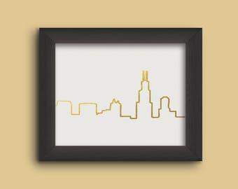 Chicago Skyline Gold Foil Print