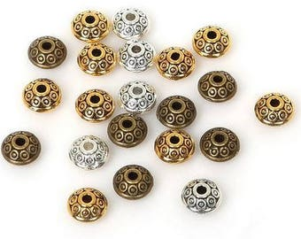 Engraved Spacer Beads - 50 piece - 6mm - Brass Beads - Indian Beads - Jewelry Making