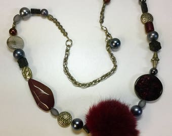 One of a kind necklace with fur