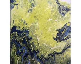 Day 29/30 - Abstract Fluid Painting on Stretched Canvas