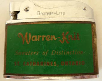 Vintage BROTHER -LITE Warren-Knit Sweaters St Catharines Ontario CIGARETTE Lighter