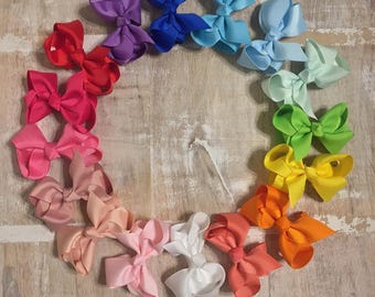 Solid Color Grosgrain Ribbon Bow, Alligator clip, Barrette, Multiple Colors and Sizes Avaliable, Hair bow, Girls