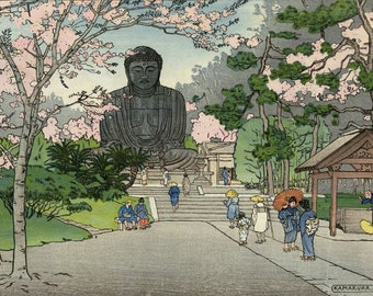 "Art Print Reproduction ""Kamakura "" by Charles W. Bartlett, woodblock print reproduction, asian art, cultural, cherry blossom trees, Japan"