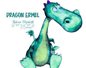 Dragon Ermel 4, Watercolor Clipart, Baby, Child, Fun, Craft