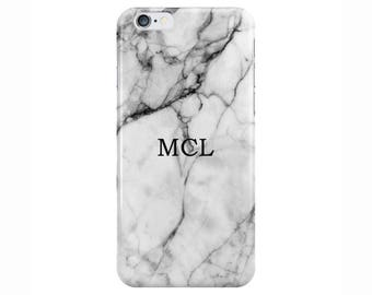 Personalised Name small initials White Marble Phone Case Cover for Apple iPhone 5 6 6s 7 8 Plus & Samsung Galaxy Customized Monogram