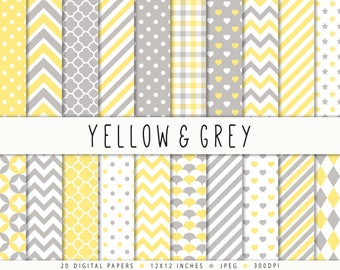 Yellow Grey Digital Paper Commercial Use Yellow Digital Paper Sale Polka Dot Yellow Digital Scrapbook Paper