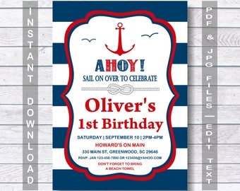 Nautical Birthday Invitation, Nautical Invitation, Ahoy, Red & Blue Nautical Invitation, Navy and Red, Nautical Party, Instant Download