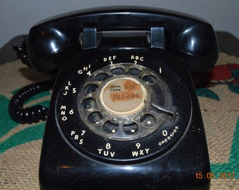 Vintage black rotary telephone