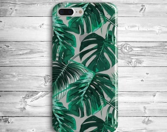 Green Palm Leaves iPhone 7 Plus Case iPhone 6 Silicone Case iPhone 7 iPhone SE Transparent Case Samsung Galaxy S6 S7 Edge Tropic Leaves Case