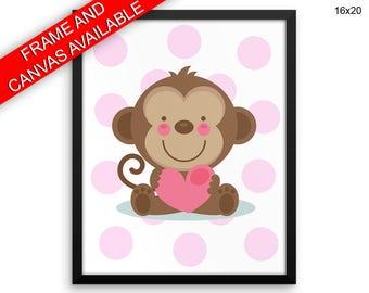 Monkey Prints  Monkey Canvas Wall Art Monkey Framed Print Monkey Wall Art Canvas Monkey Nursery Art Monkey Nursery Print Monkey