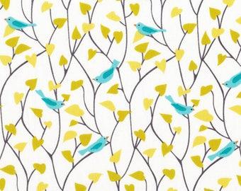 Blue Tweetly Tweet Fabric  Organic Cotton - Cloud 9 Fabrics - House and Garden - Bird Print Fabric