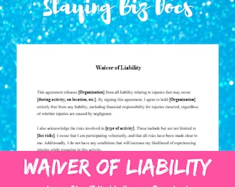 Waiver of Liability  | Fully Customizable & Printable | Instant Download