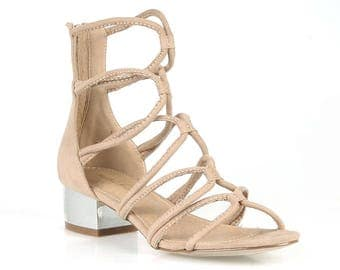 Mark and Maddux Nelson-01 Strappy Women's Heeled Sandals in Taupe