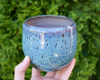 Small Blue Planter with Drainage Holes