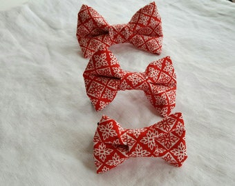 Pet Bow Tie - Red and White Geometrics