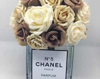 Mocha Chanel perfume inspired artificial rose vase