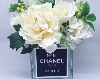 Perfume inspired Chanel No5 vase with silk peony flowers