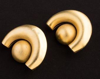 1980s  Clip on earrings Gold Lustre Moon design