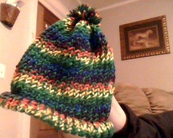 green rainbow handknit beanie