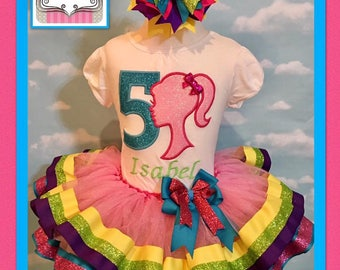 Embroidered Barbie tutu set, barbie tutu, Barbie birthday tutu,