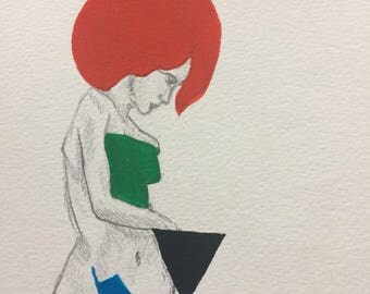 Acrylic on Watercolour Paper ~ figure with geometric shapes