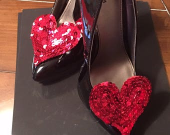 Large Red Sequin heart shoe clips