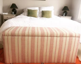 Ottoman upholstered in Kate Forman stripe