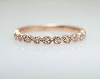 Rose Gold Stackable Diamond Band Ring Anniversary Gift Birthday Ring Dainty Wedding Ring